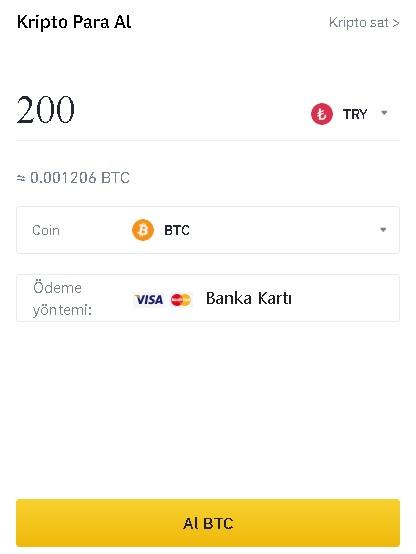 Binance banka kartı ile kripto para alma