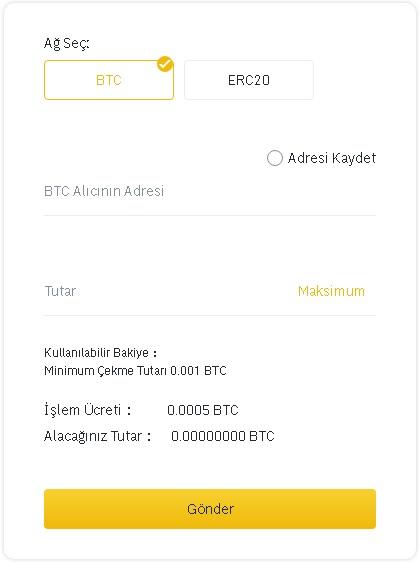 Binance TR'den Bitcoin çekme
